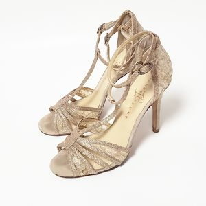 Ivanka Trump Ithaizel Lace Gold Sandals Size 7.5